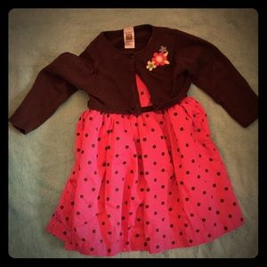 Baby girl carters dress with brown sweater 18 m